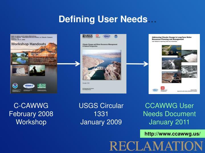 Defining user needs