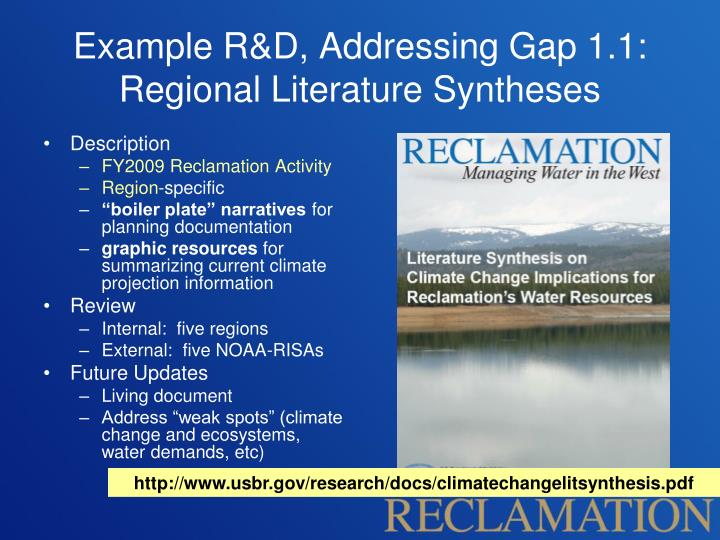 Example R&D, Addressing Gap 1.1: