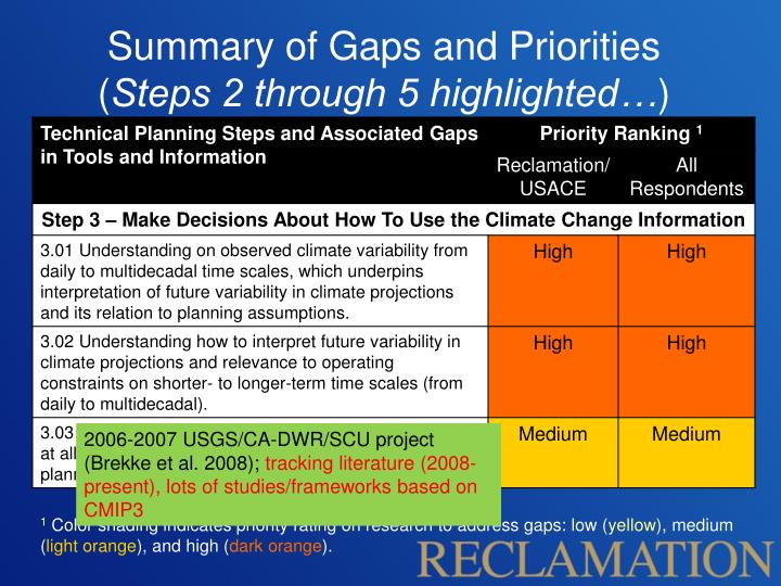 Summary of Gaps and Priorities