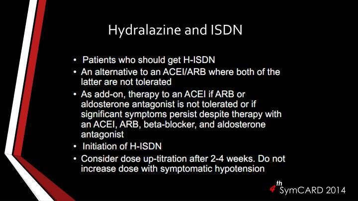 Hydralazine and ISDN