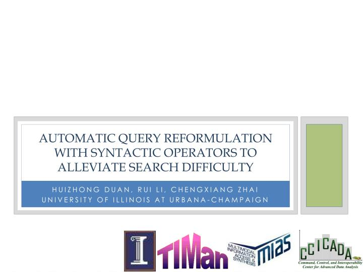 Automatic query reformulation with syntactic operators to alleviate search difficulty