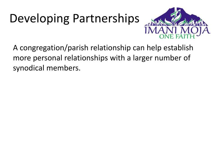 A congregation/parish relationship can help establish more personal relationships with a larger number of