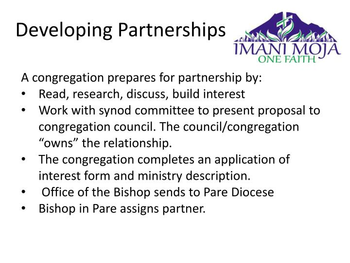 A congregation prepares for partnership by: