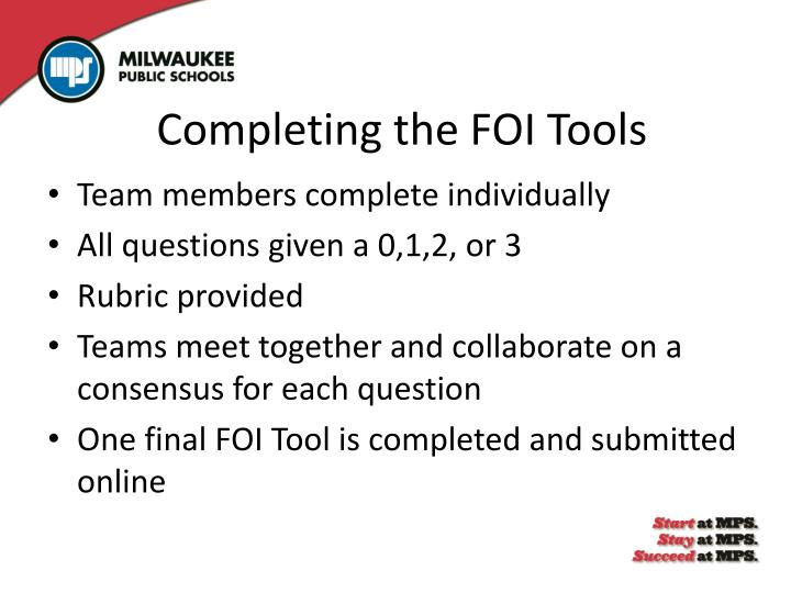 Completing the FOI Tools