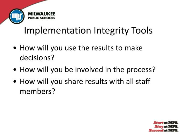 Implementation Integrity Tools