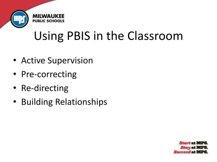 Using PBIS in the Classroom