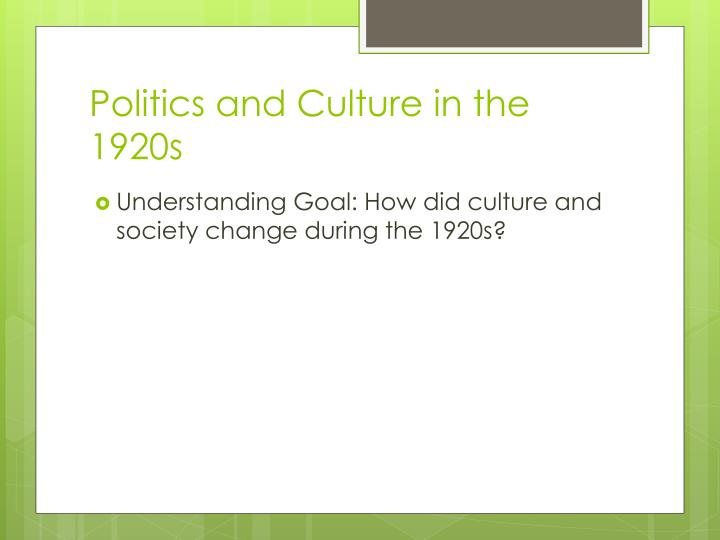 politics and culture in the 1920s n.