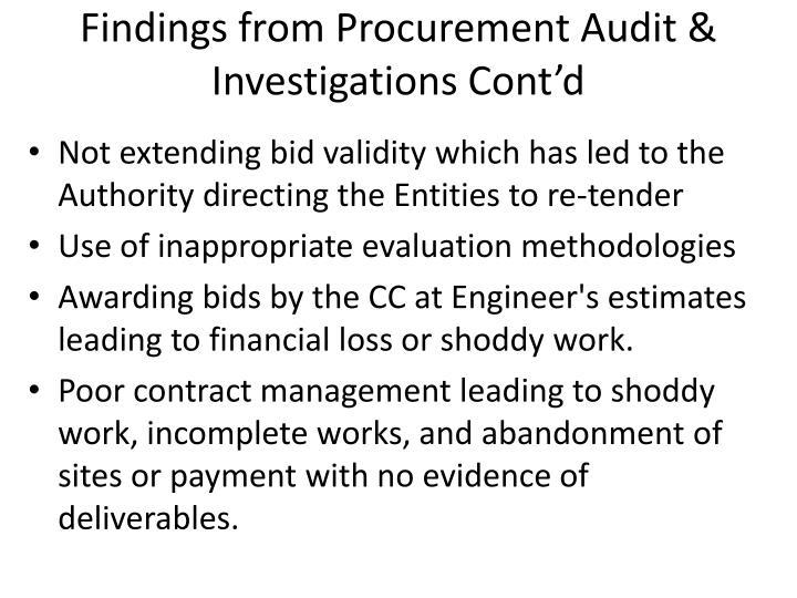Findings from Procurement Audit & Investigations Cont'd