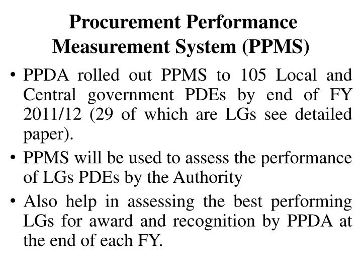 Procurement Performance Measurement System (PPMS)