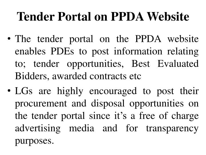 Tender Portal on PPDA Website