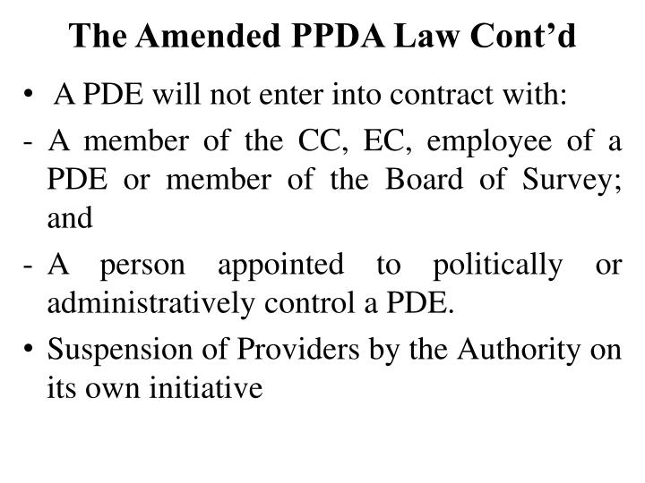 The Amended PPDA Law Cont'd