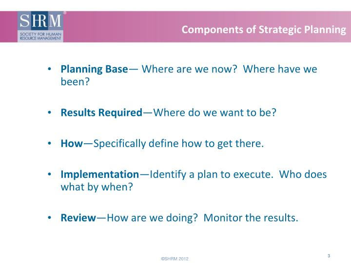 Components of strategic planning