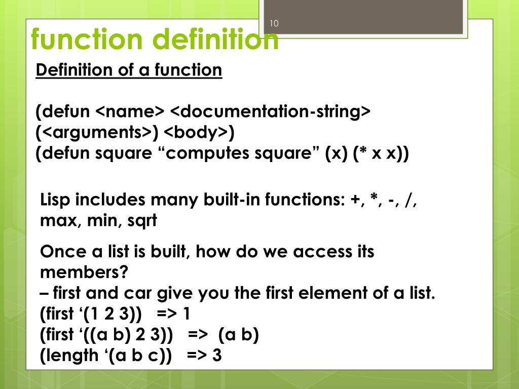 PPT - C-LISP PowerPoint Presentation - ID:2504401