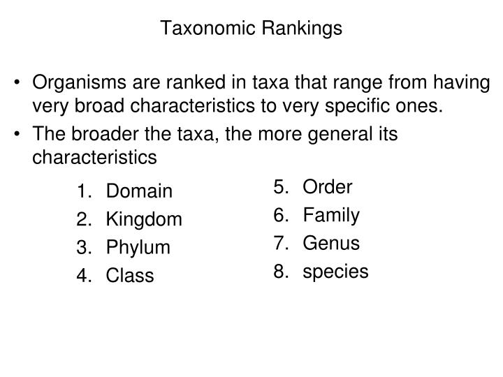 Taxonomic Rankings