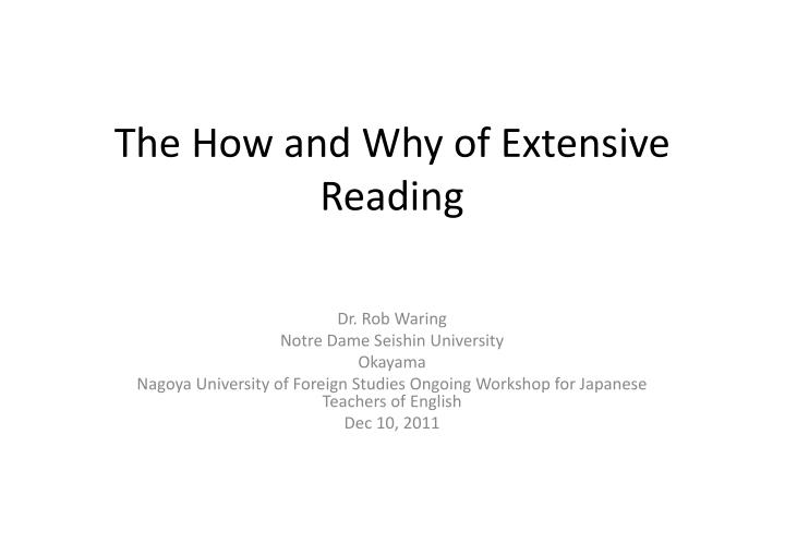 the how and why of extensive reading n.