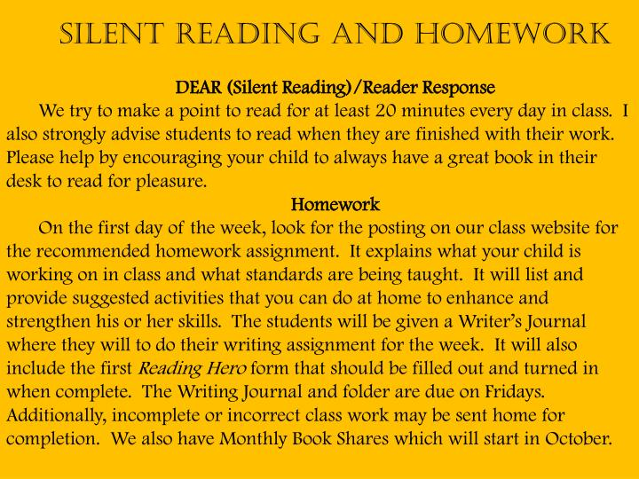 Silent Reading and Homework