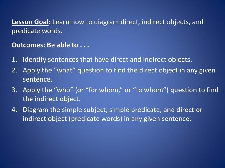 Ppt english fri day february 8 2013 powerpoint presentation lesson goal learn how to diagram direct indirect objects ccuart Image collections