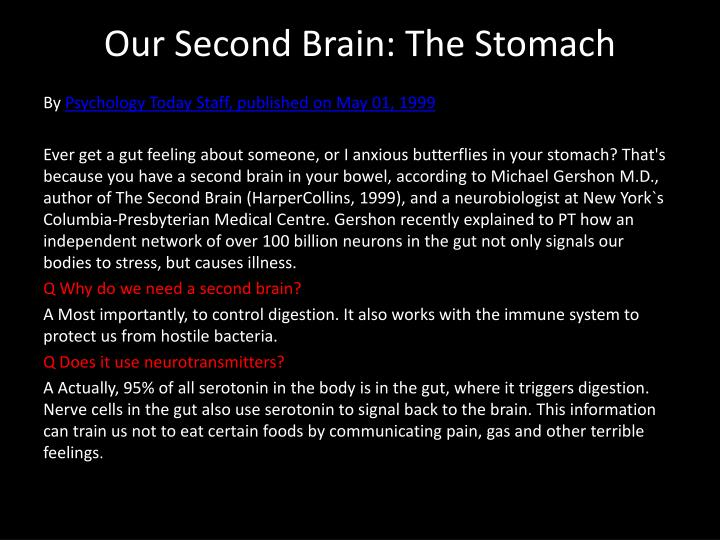 Our second brain the stomach