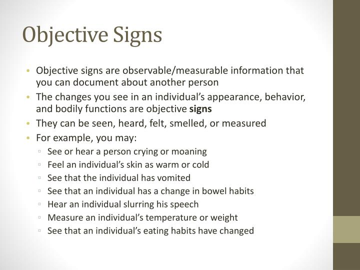 Objective signs