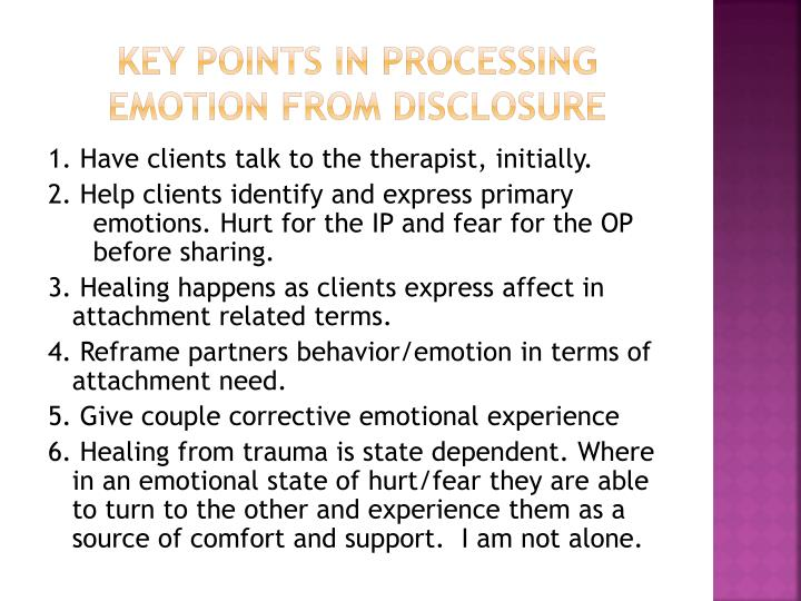 Key Points in Processing emotion from Disclosure