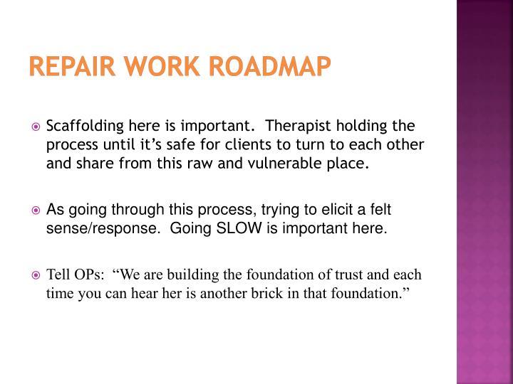 Repair work roadmap
