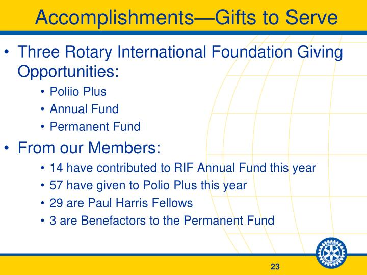 Accomplishments—Gifts to Serve