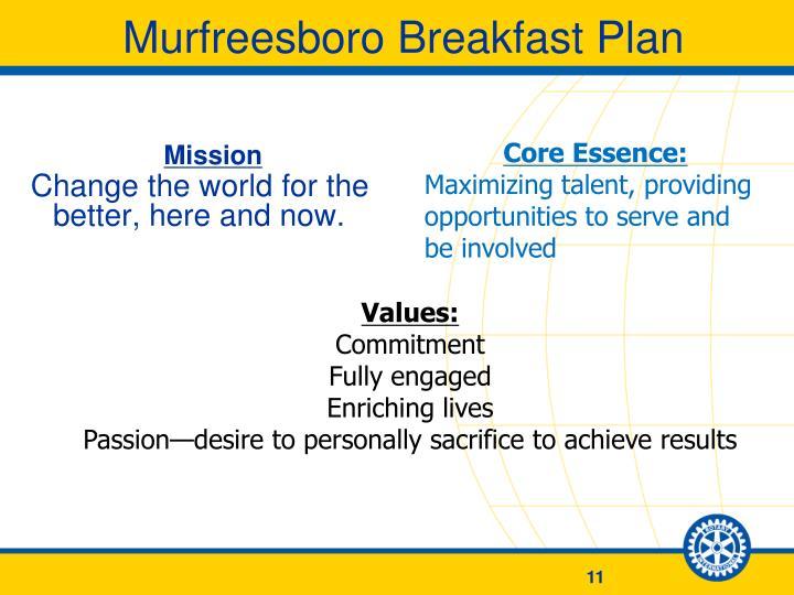 Murfreesboro Breakfast Plan