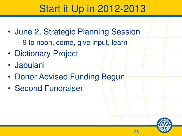 Start it Up in 2012-2013