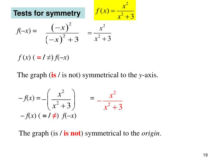 Tests for symmetry