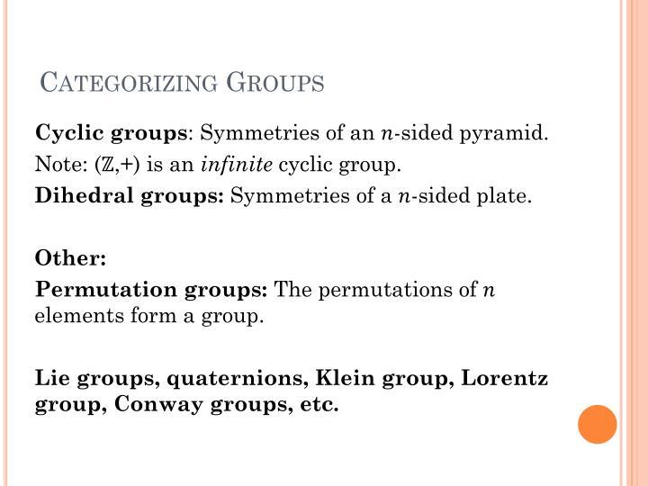 Categorizing Groups