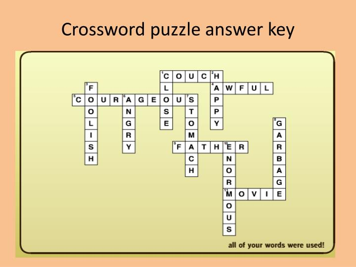 Crossword Weaver Answer Key | crossword quiz