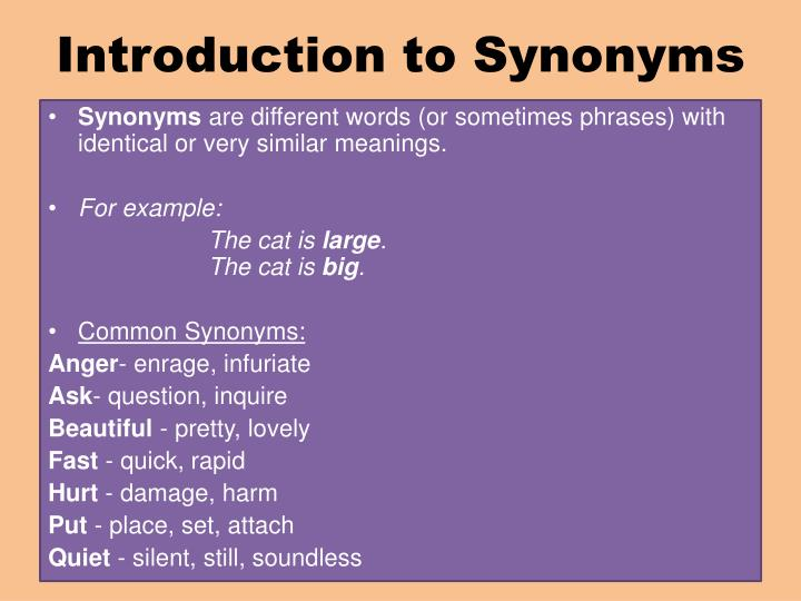 Ppt A Lesson On Synonyms Powerpoint Presentation Id 2505531
