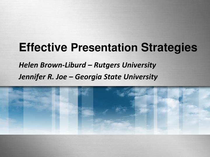 effective thesis presentation Key steps to an effective presentation fear of public speaking ranks with death and an irs audit for most of the population here, i will attempt to give you a few tips & techniques and a bit of support when it comes time to make your presentation see also: conquering a.