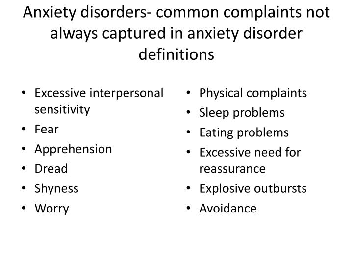 Anxiety disorders- common complaints not always captured in anxiety disorder definitions