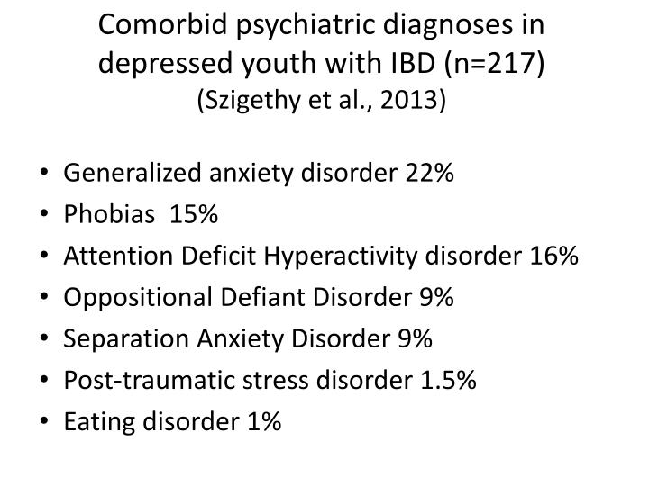 Comorbid psychiatric diagnoses in depressed youth with