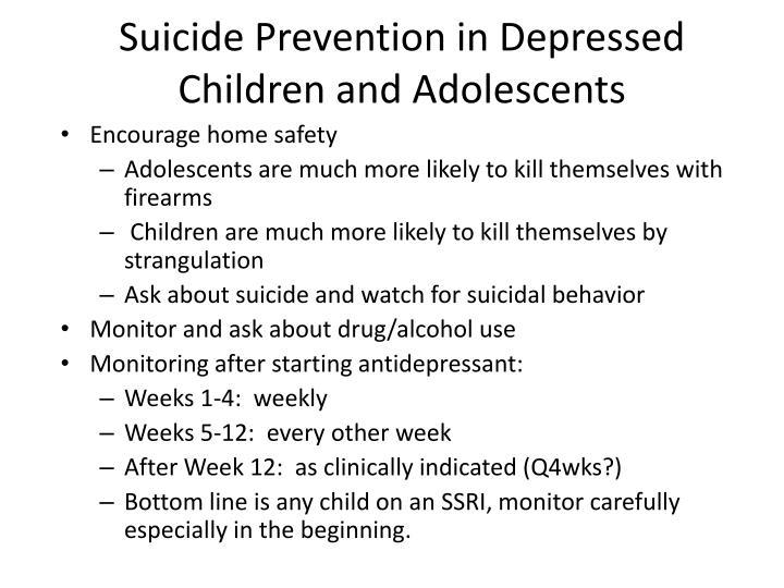 Suicide Prevention in Depressed Children and Adolescents