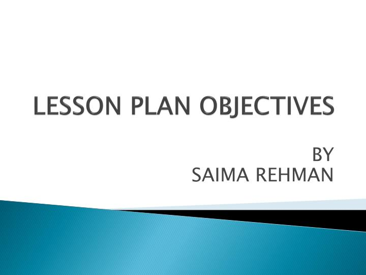 lesson plan objectives n.