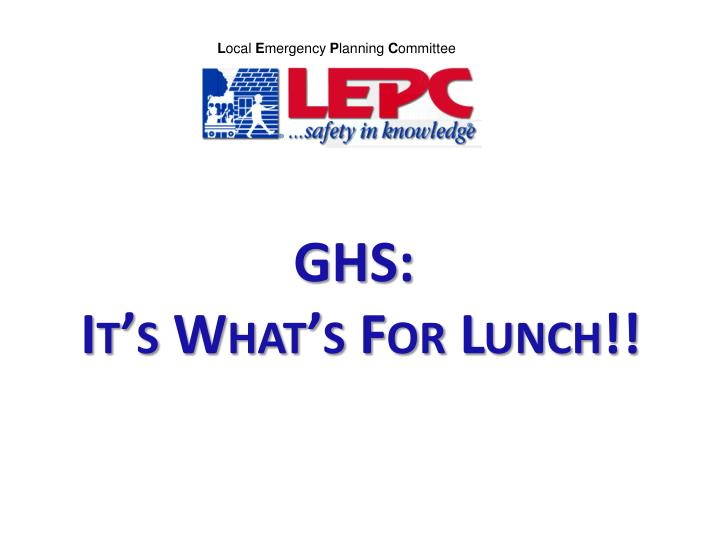 ghs it s what s for lunch n.