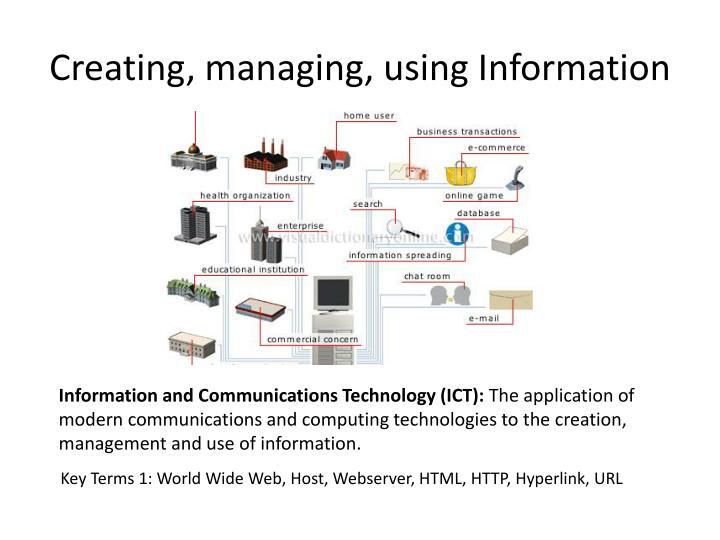 Creating, managing, using Information