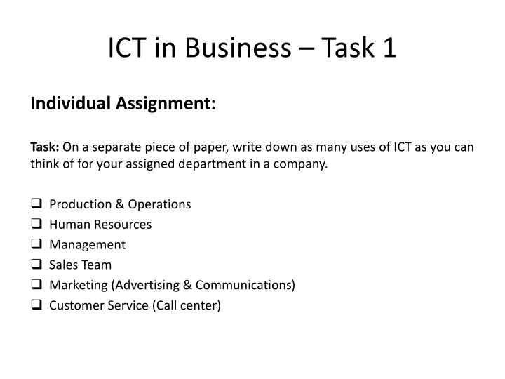 ICT in Business – Task 1