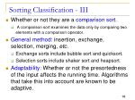 sorting classification iii