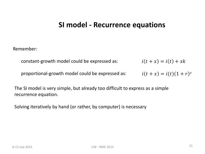 SI model - Recurrence equations