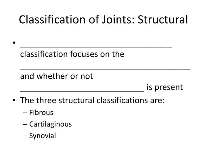 Classification of joints structural