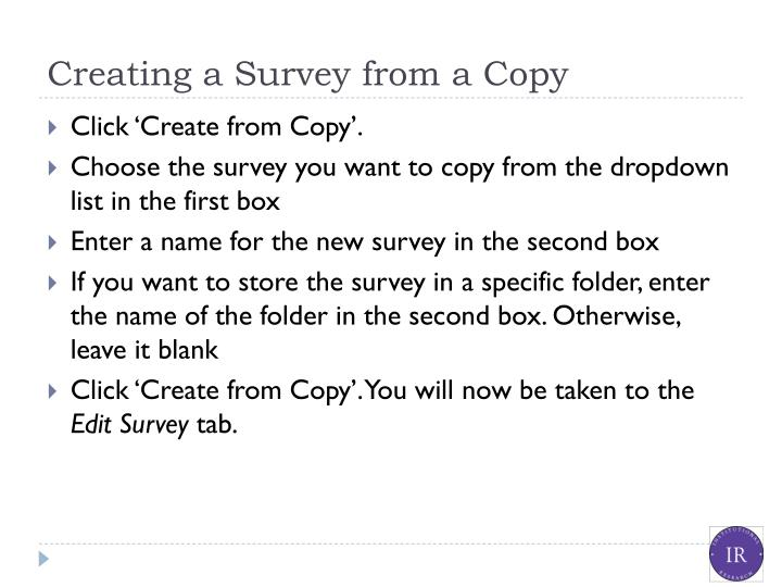 Creating a Survey from a Copy