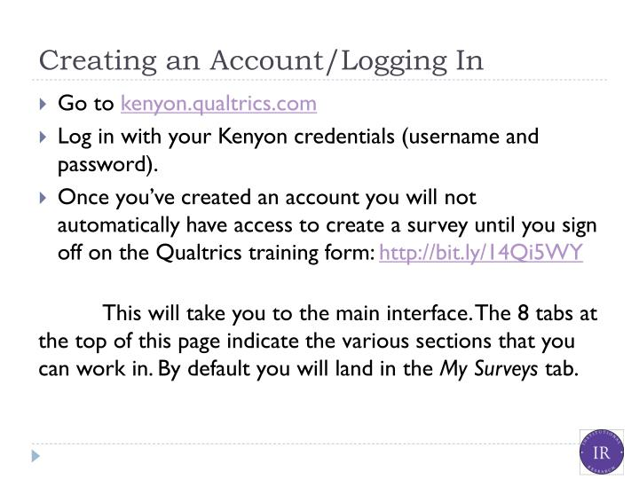 Creating an account logging in