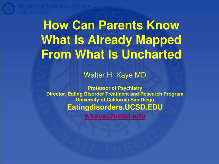 How can parents know what is already mapped from what is uncharted