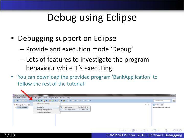 Debug using Eclipse