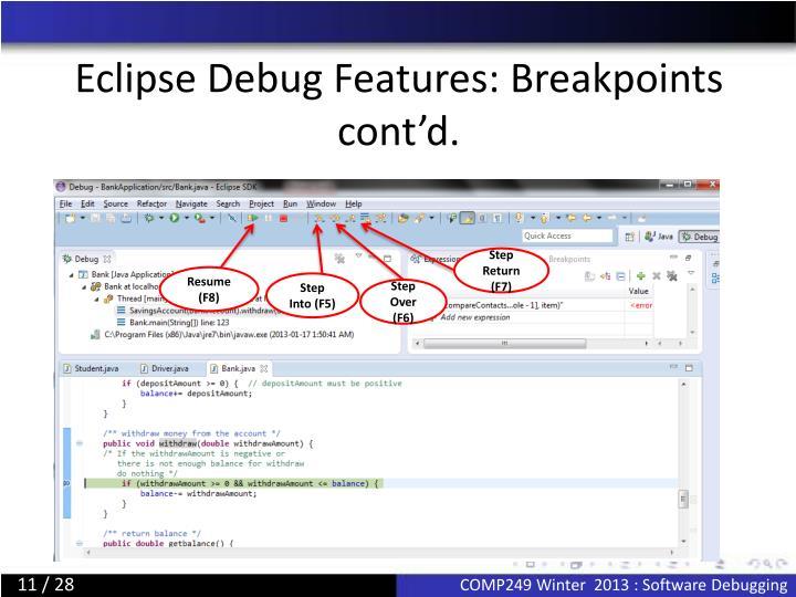Eclipse Debug Features: Breakpoints cont'd.