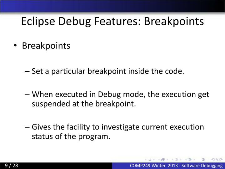 Eclipse Debug Features: Breakpoints