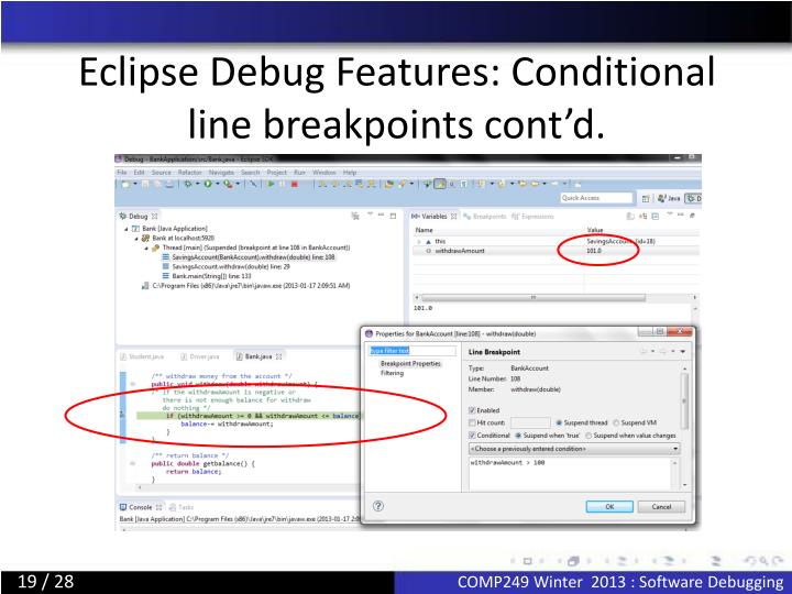 Eclipse Debug Features: Conditional line breakpoints cont'd.